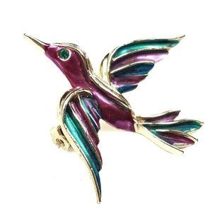 Jewelry - Violet & Teal Enamel Bird Brooch W/ Rhinestone Eye